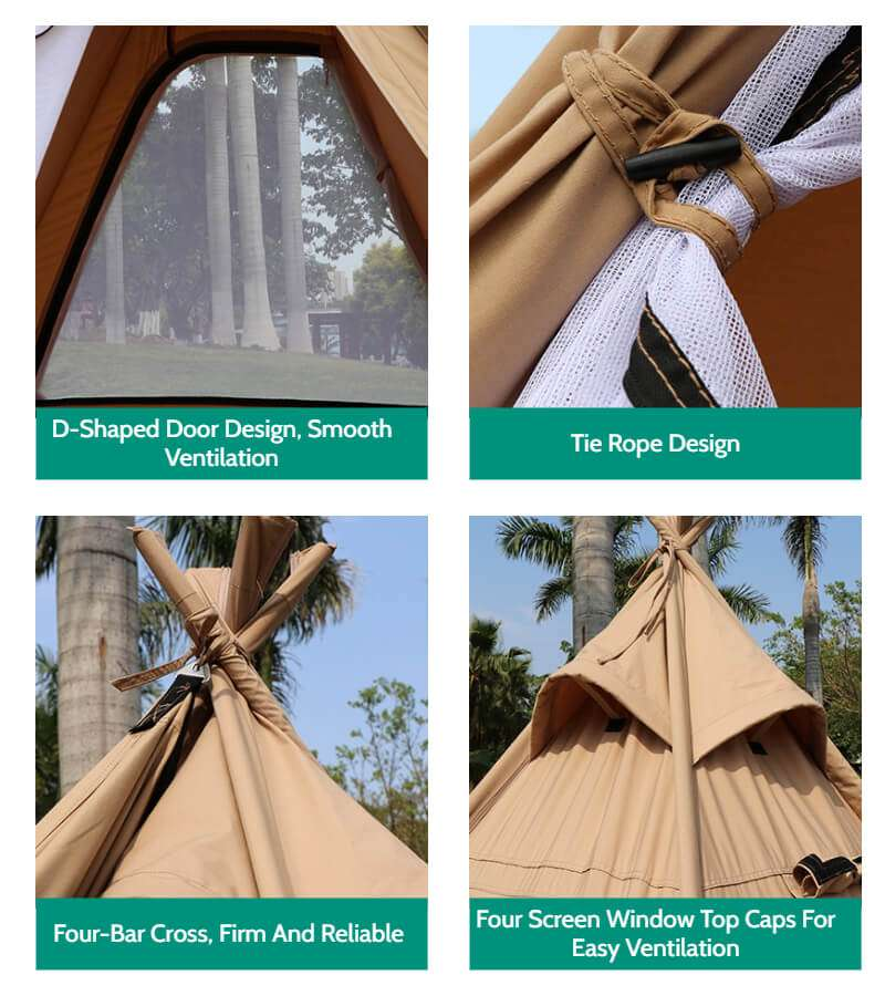 Wise Tents® Outdoor Pyramid Cotton Teepee Tent - 3-4 Persons