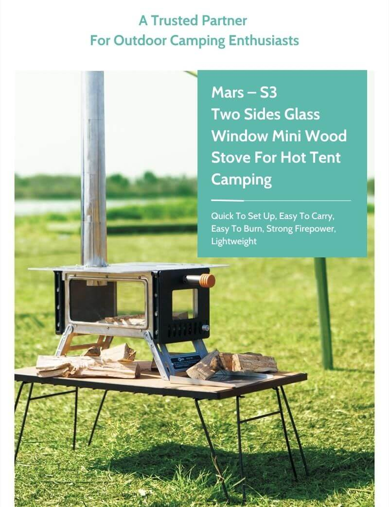 Mars – S3 Two Sides Glass Window Mini Wood Stove For Hot Tent Camping - Wise Tents®